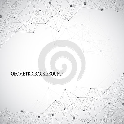 Geometric abstract grey background with connected lines and dots. Medicine, science, technology backdrop for your design Vector Illustration