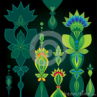 Geometric background with abstract flowers