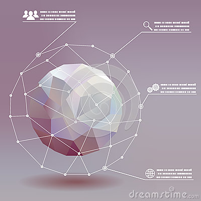 Geometric ball social networks infographics whith