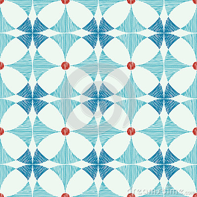 Geometric blue red ikat seamless pattern