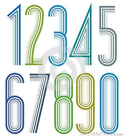 Free Geometric Bright Elegant Striped Numbers. Stock Photos - 42237833