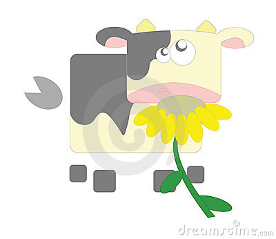 Geometric cow in white background