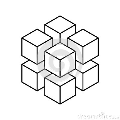 Free Geometric Cube Of 8 Smaller Isometric Cubes. Abstract Design Element. Science Or Construction Concept. Black Outline 3D Royalty Free Stock Image - 108041206