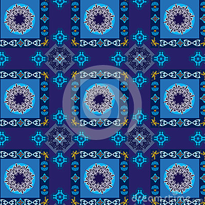 Geometric and floral blue pattern seamless