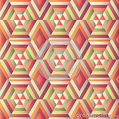 Geometric hexagon op illusion