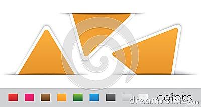 Geometric orange labels