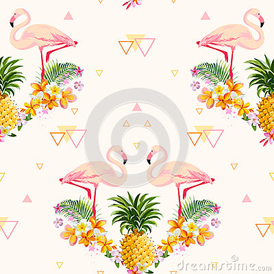 Free Geometric Pineapple And Flamingo Background Royalty Free Stock Photo - 65163365