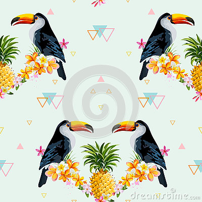 Free Geometric Pineapple And Toucan Background. Tropical Bird Stock Photos - 72831653