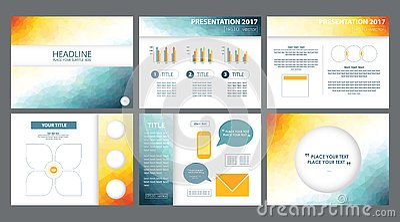 3d yellow, white, blue powerpoint presentation templates vectors. Stock Photo