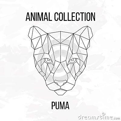 geometric puma head stock vector image 69905773