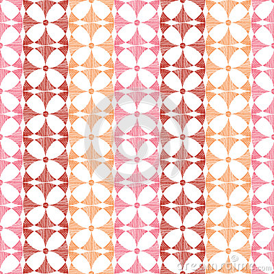 Geometric red ikat stripes seamless pattern