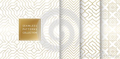 Geometric seamless golden pattern background. Simple vector graphic white print. Repeating line abstract texture set. Minimalistic Vector Illustration