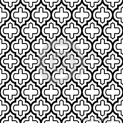 Geometric seamless pattern, Moroccan tiles design, black background Stock Photo