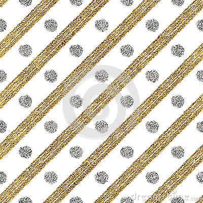 Free Geometric Seamless Pattern Of Golden Glitter And Silver Diagonal Strokes Circle Stock Images - 79007694