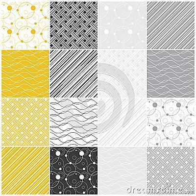 Geometric seamless patterns: dots, waves, stripes
