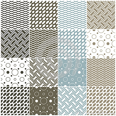Free Geometric Seamless Patterns: Polka Dots, Waves, Ch Stock Photos - 36650543