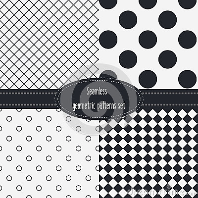 Free Geometric Seamless Patterns Set. Dark And Light Grey Colors. Black And White Royalty Free Stock Image - 56447856