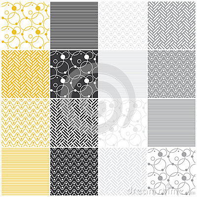 Geometric seamless patterns: stripes, waves, dots,