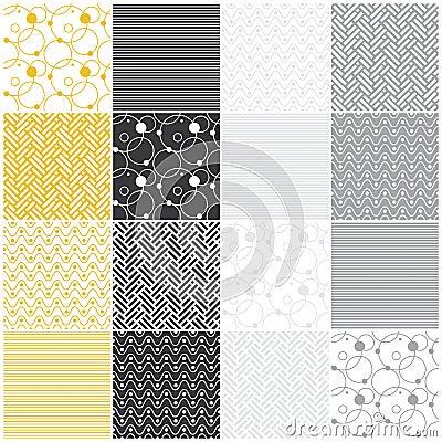 Geometric seamless patterns: stripes, waves, dots,