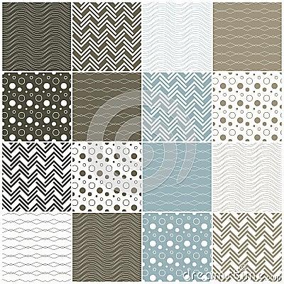 Geometric seamless patterns: waves, circles, dots,