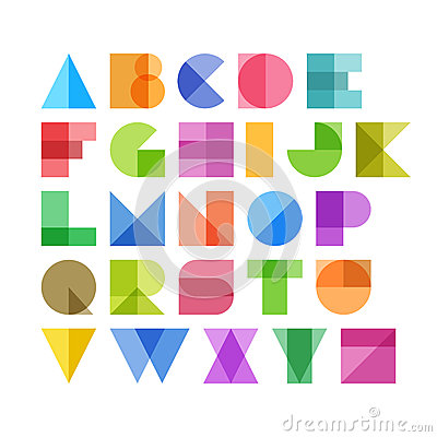 Free Geometric Shapes Alphabet Letters Royalty Free Stock Photography - 40082887