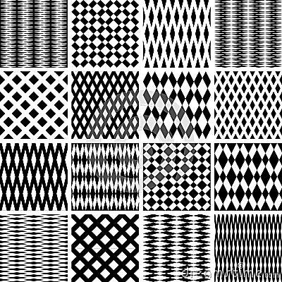 Geometric textures. Seamless patterns set.