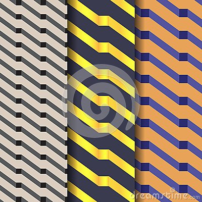 Geometric vector pattern, repeating diagonal rectangle with abstract shadow in black gold and blue color. Vector Illustration