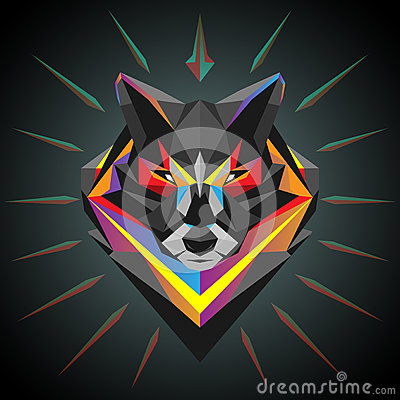 Free Geometric Wolf Head Stock Image - 66652361