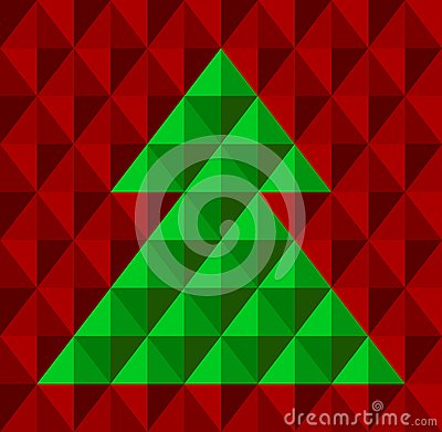 Geometrical Christmas tree, snowflake background