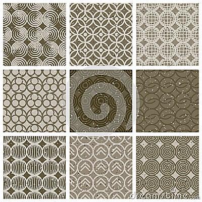 Geometrische en zwart wit naadloze uitstekende die tegels met oude te worden geplaatst vector - Oude patroon tegel ...