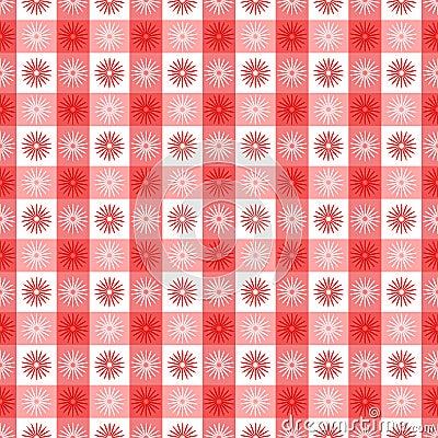 Seamless röd gingham med blom- mönstrar