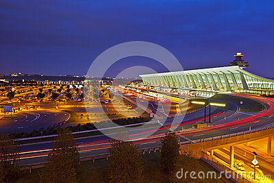Geometry of Dulles International Airport at Night