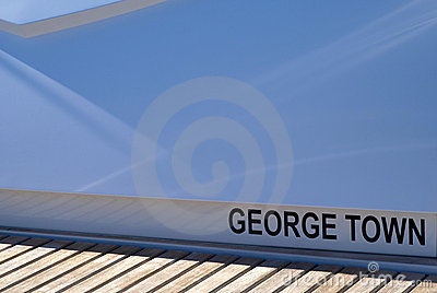 George Town, port of registry on the deck of yacht Editorial Stock Photo