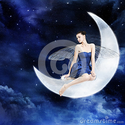 Free Georgeouse Young Woman As Fairy On The Moon Royalty Free Stock Images - 29894589