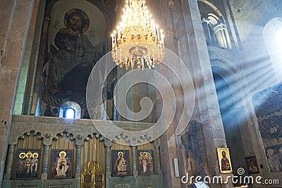 Georgia -  inside of Svetitskhoveli Cathedral in M