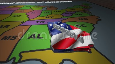 Georgia pull out from USA states abbreviations map stock video