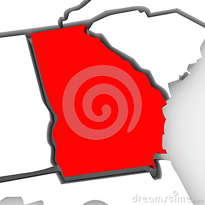 Georgia Red Abstract 3D State Map United States America