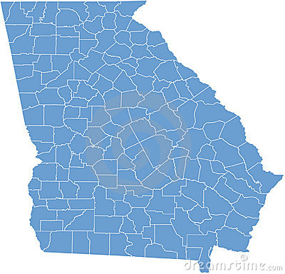 Georgia USA state map by counties