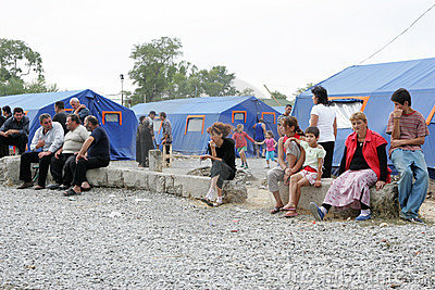 Georgian refugees in Gori camp Editorial Photo