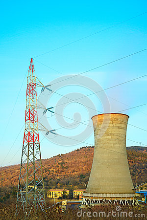 Geothermal energy, power station. Cooling tower