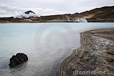 Geothermal lake near geothermal power station
