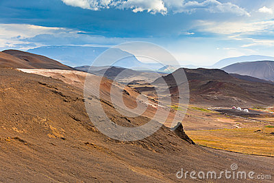 Iceland Mountains at Summer Sunny Day