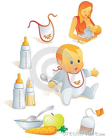 Geplaatst pictogram - babyvoeding. Vec