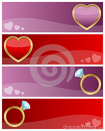 Geplaatste de Banners van de Dag van valentijnskaarten