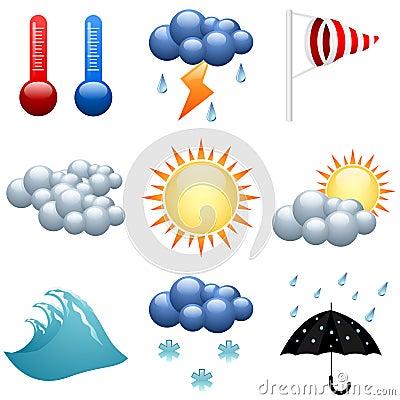 Geplaatste de pictogrammen van het weer
