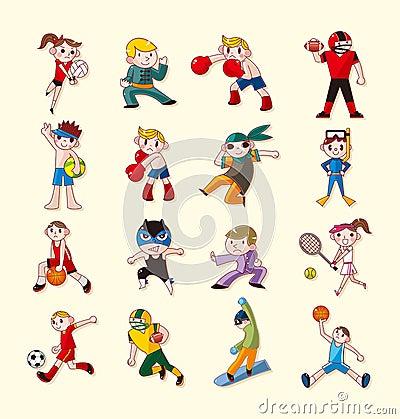 Geplaatste de spelerpictogrammen van de sport