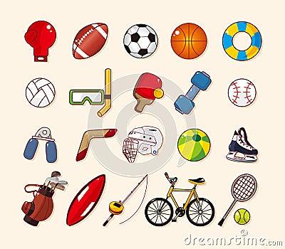 Geplaatste het elementenpictogrammen van de sport
