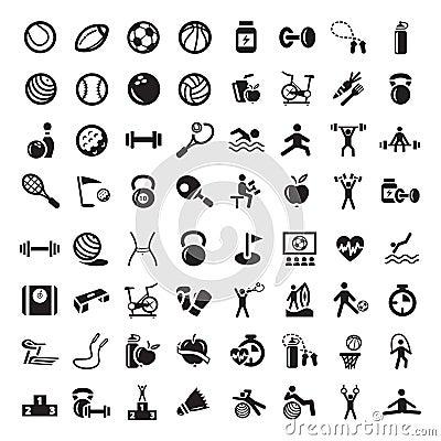 Geplaatste sporten en fitnes pictogrammen