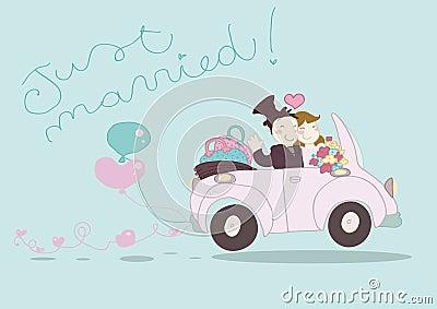 Gerade verheiratetes Auto