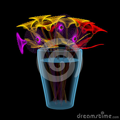 Free Gerber Flowers In A Bucket (3D Xray Multicoloured And Blue Transparent) Royalty Free Stock Photos - 30408668